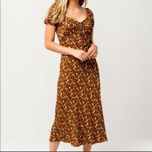 Sky and sparrow brown floral midi dress